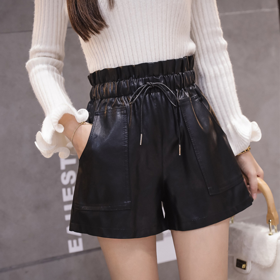 Solid High Waist PU Leather Shorts Women Autumn Winter Elastic Waist Width-leg Shorts Korean Female Fashion England Style Shorts