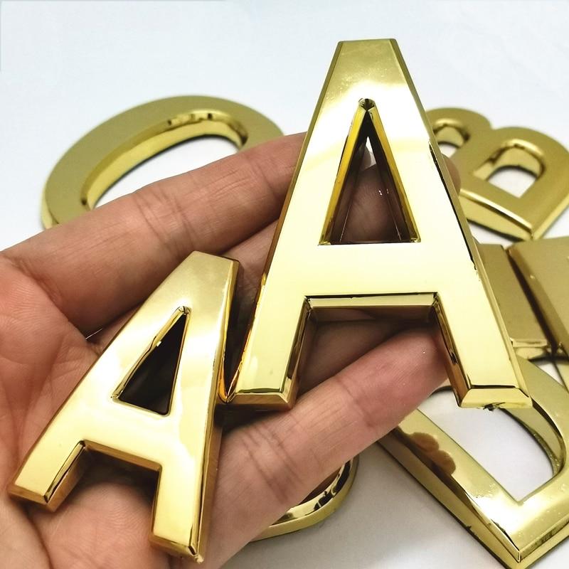 Od A do Z nowoczesne litery srebro/złoto/czerwona miedź tablica dom numery drzwi hotelowe adres cyfry naklejka emblemat znak plastik ABS