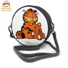 Сумка на плечо Garfield 4, Кожаная мини сумка с принтом для женщин, универсальная женская сумка через плечо для подростков, трендовая круглая сумка