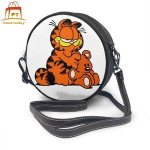 Image 1 - Garfield torba na ramię GARFIELD 4 skórzana torba Mini drukuj kobiety torby uniwersalny Teenage Crossbody Woman Trending Round torebka