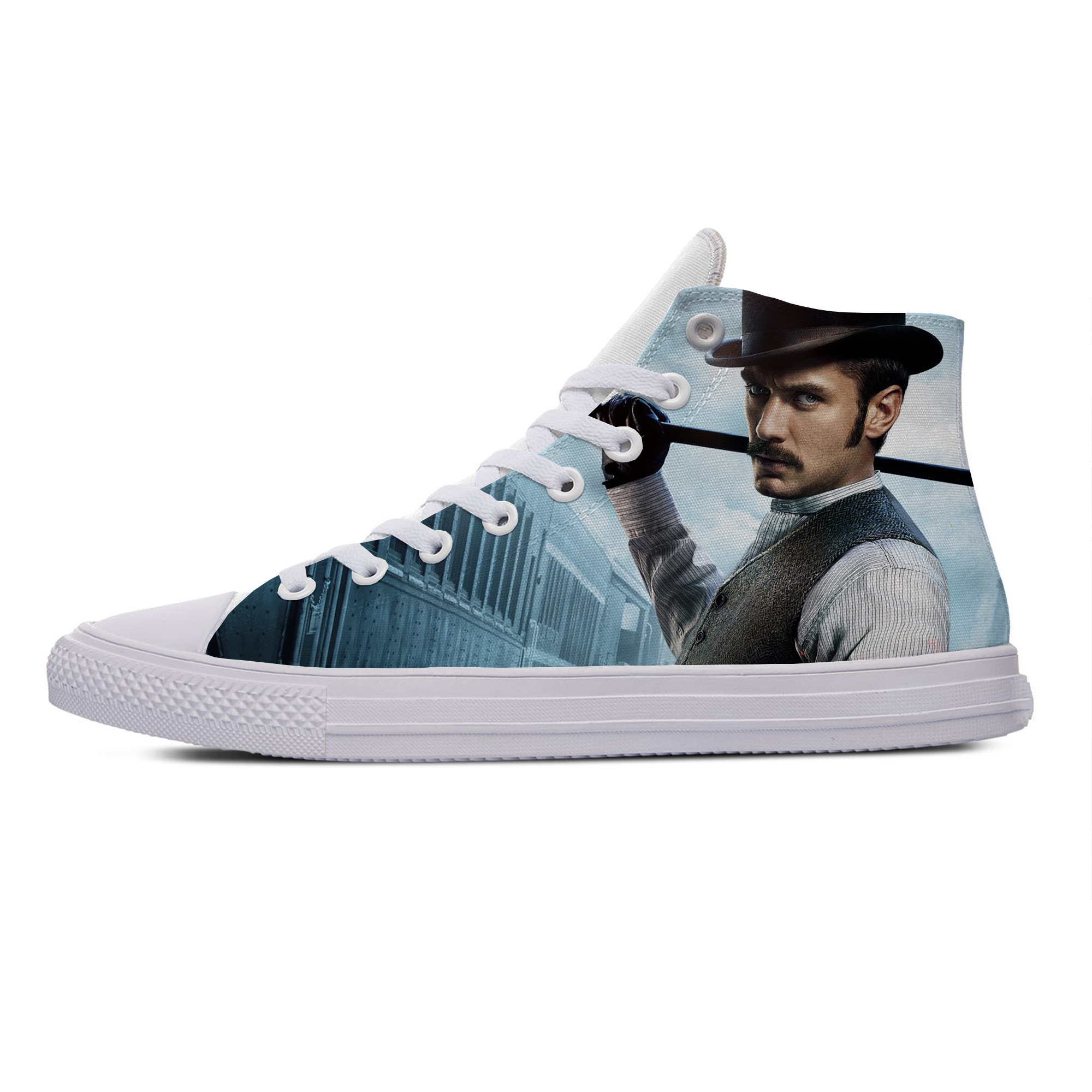 Sherlock Holmes Suspense Movie Hot Fashion Casual Canvas Shoes High Top Breathable Lightweight Sneakers 3D Print For Men Women image