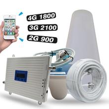 2g 3g 4g 네트워크 gsm 900 + dcs/lte 1800 + umts/wcdma 2100 모바일 신호 리피터 트라이 밴드 앰프 900 1800 2100 핸드폰 부스터