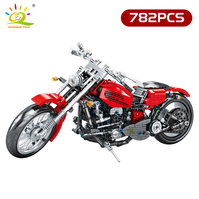 HUIQIBAO DIY Technic Motorcycle Model Building Blocks city Speed Car Vehicle Bricks Educational Children Toys Boy gift