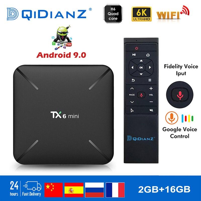 Tanix tx6 mini smart tv box android 9.0 allwinner h6 2g + 16g 2.4 ghz wifi suporte 4 k h.265 tv receptor netflix conjunto-caixa superior tx6mini