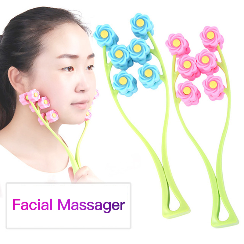 Facial Massager Roller Portable Flower Shape Face Roller Massager Anti Wrinkle Face-Lift Slimming Face Relaxation Beauty Tools