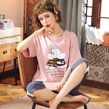 JULY'S SONG Cotton Female Sleepwear Cute Cartoon Printed Women's Pajamas Sets Comfortable T-shirt Homewear Nightwear Summer 2020