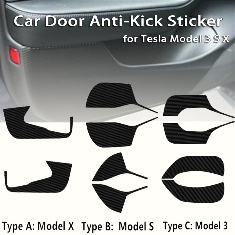 Carbon Fiber Cover Sticker Anti-Kick Pad Protector Mat Cushion Cover   Accessories For Tesla Model 3 Model X Model S