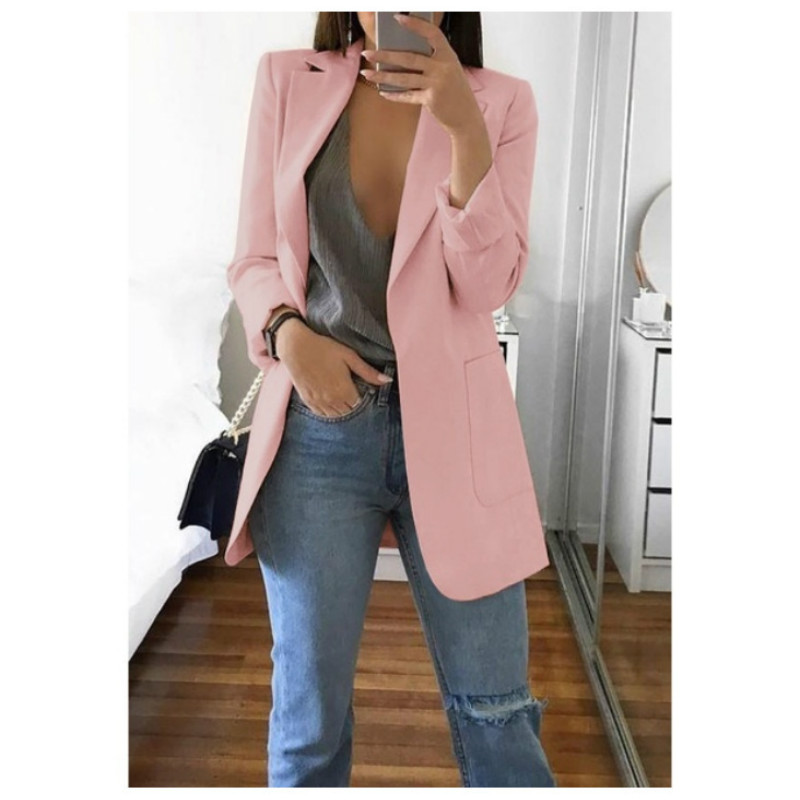Fashion   Trench   Women Open Stitch Turn-Down Collar Autumn Blends Coats Pure Office Elegant Overcoat Cardigan 5XL Plus Size GV085