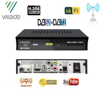 DVB T2+S2 Combo Fully HD Digital Set Top Box Support USB WIFI DVB T2 S2 H.264 MPEG4 Terrestrial Receive and Satellite Receiver dvb t2 dvb t h 264 full 1080p mpeg 2 4 digital tv tuner iptv m3u hd set top box support youtube meecast terrestrial receiver
