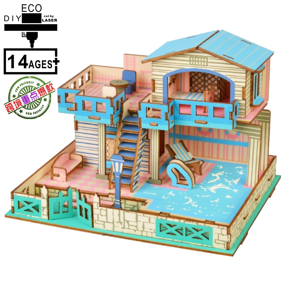 3D Wooden 3D Puzzle Model Jigsaw Puzzle DIY Toy Blue Dreamland Waterfront Villa image