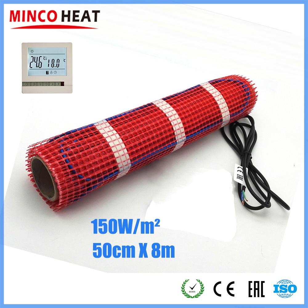 Calor de minco 8m x 50cm 150 vatios de fusión de la nieve calefacción de piso alfombra FEP aislado Durable y seguro de calefacción Mat