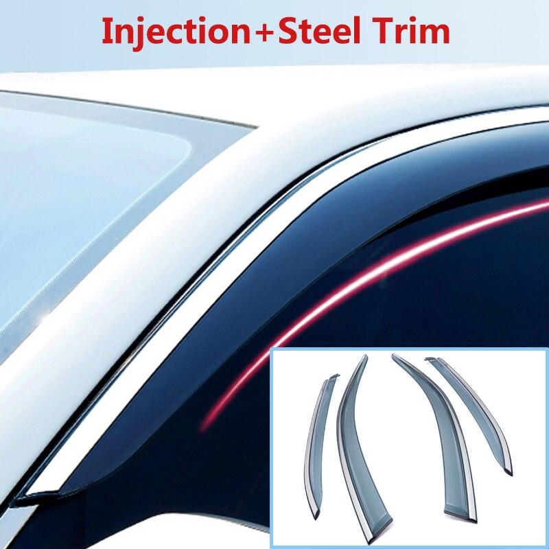 FOR RENAULT DACIA DUSTER 2010+Car Deflector Window Door Visor,Injection+Steel Trim,Weather Rain Sun Wind Guard,Car Accessories