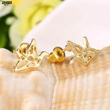 Women Fashion Cute Animal Anime Paper Crane 1 Pair Stud Silver, Gold, Rose Gold 1g Shaped Earrings(China)