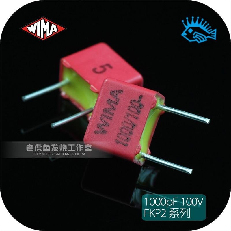 2pcs For WIMA MKS2 100V 1.0uF 1000nF Audio Crossover Non-Polarity Capacitor