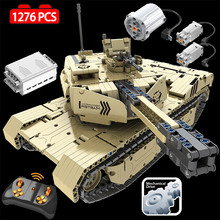 1276 PCS 2.4G RC M1A2 Tank Model Building Blocks Legoings Technic Military Remote Control 50M Distance Tank Bricks Toys for Boys