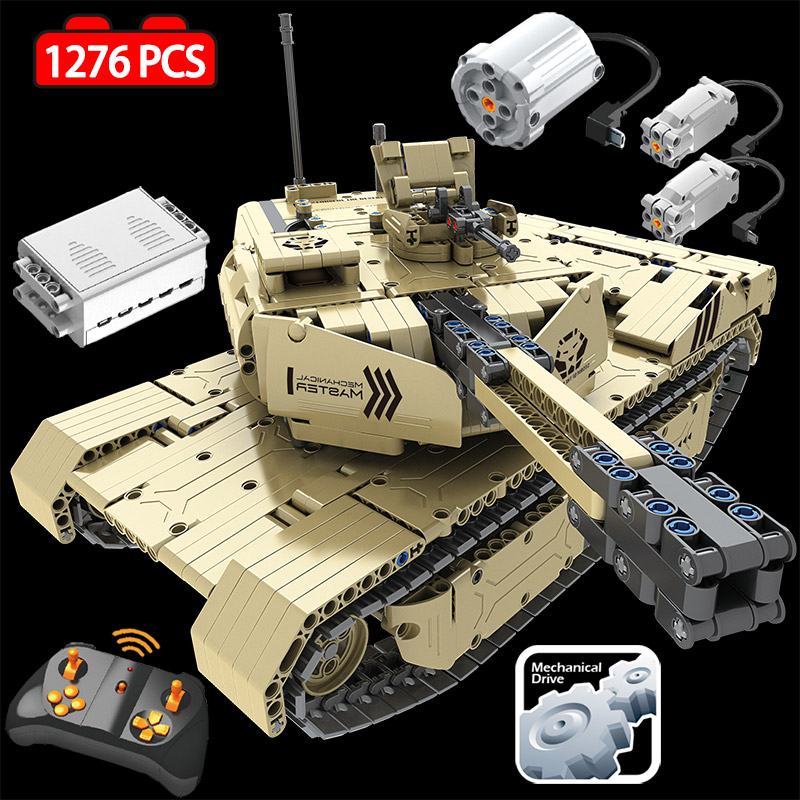 1276 PCS 2.4G RC Tanque Modelo Building Blocks Legoings M1A2 Técnica Militar Tijolos Tanque 50M de Distância de Controle Remoto brinquedos para Meninos