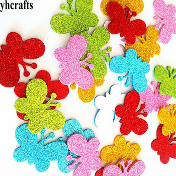 1bag/LOT.Glitter butterfly foam stickers Creative activitity items Kids room decoration Make your own handicraft OEM custom DIY - sale item Classic Toys