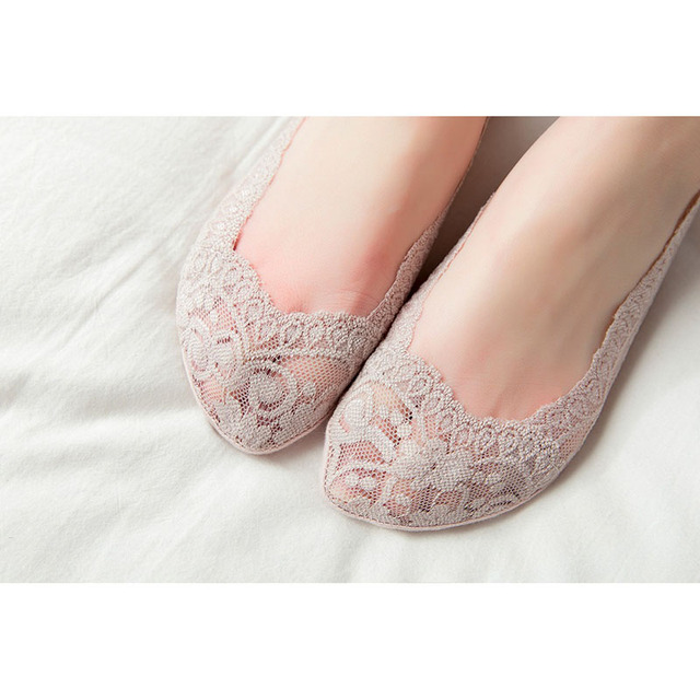 Newest 5 Pair Women Lace No Show Socks Thin Low Cut Non Slip Boat Socks for Summer