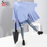 2019 Women Long Korean Style Blue Plaid Dress Batwing Sleeve Plus Size Lady Stylish Blouses Feminine Shirt chemise femme 5483