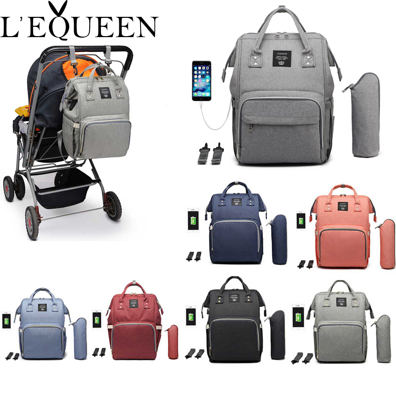 Lequeen USB Mummy Maternity Nappy Bag Brand Large Capacity Baby Bag Travel Backpack Designer Nursing Bag For Baby Care