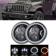 2× 7 inch LED Headlight with Halo Daytime Running Light For Jeep Wrangler JK Lada Niva 4x4 LED Headlamps with Amber Turn Signal(China)