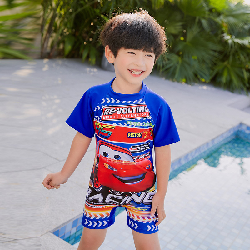 KID'S Swimwear 2019 New Style Short Cartoon McQueen Car Split Type Boxers Middle And Large Boy BOY'S Swimming