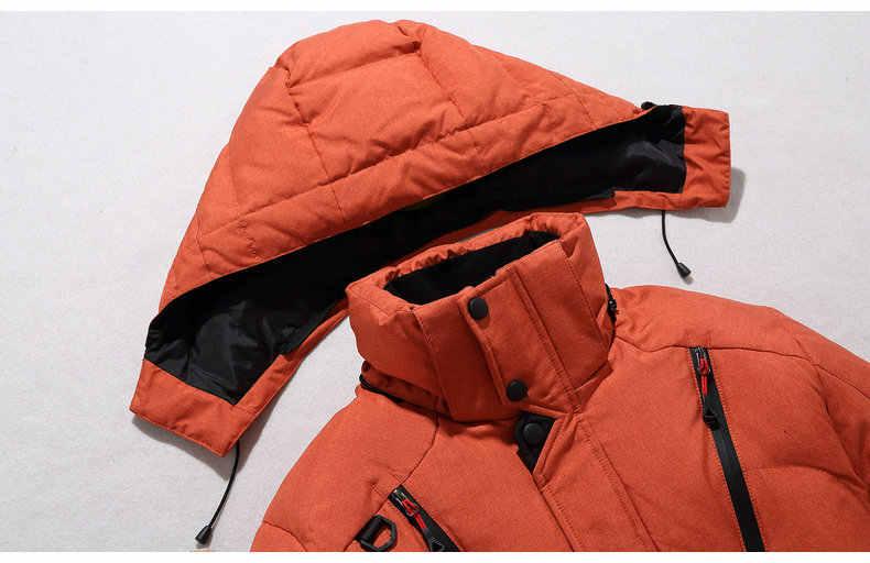 Gaaj 브랜드 높은 품질 겨울 자 켓 남자 두건 된 두꺼운 따뜻한 오리 파 카 코트 캐주얼 다운 망 오버 코트 많은 주머니 2xl 3xl