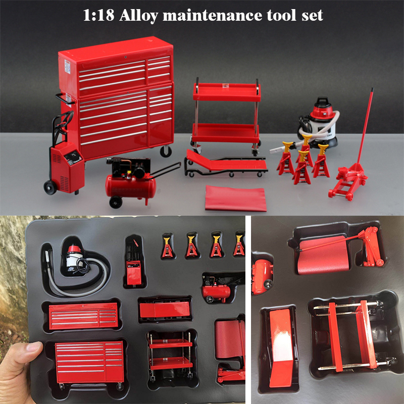 Limited Edition  Rare  Boutique  1:18  Alloy Maintenance Tool Set  Car Model Scene Accessories  Collection Boutique