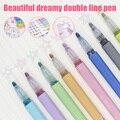 8 цветов/набор  двойная линия  контурная ручка  маркер  каллиграфия  буквы  ручка для письма  рисунок для школы  офиса