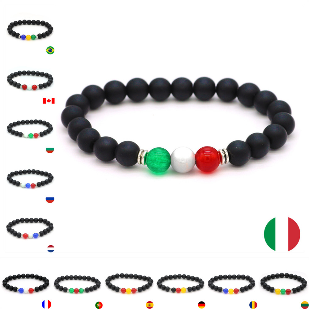 DGW country flag beaded bracelet 8mm natural stone black matte beads counple jewelry for men france Germany spain Romania