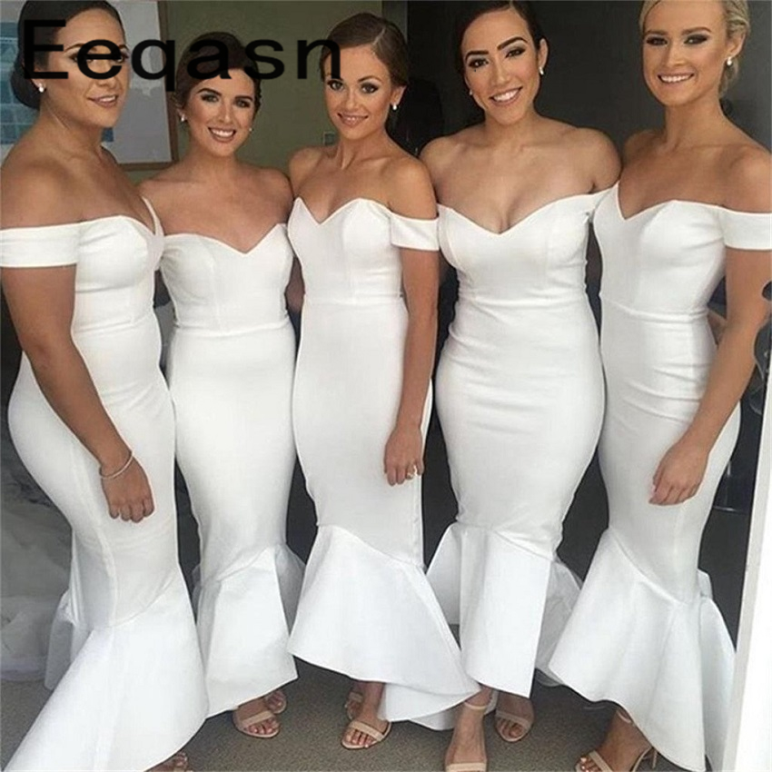White Memaid Bridesmaid Dress Short Sleeves V Neck Women Maid Of Honor Wedding Guest Dress vestido festa Custom Made