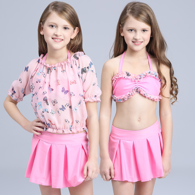 KID'S Swimwear Three-piece Set Large Children GIRL'S Princess Split Skirt-Long Sleeve Baby Girls Hot Springs Tour Bathing Suit