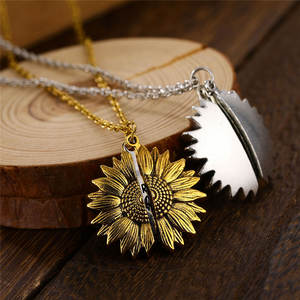 Pendant Necklace Friendship Jewelry Sunflower Locket Engrave Lover Gift Gold Round Silver