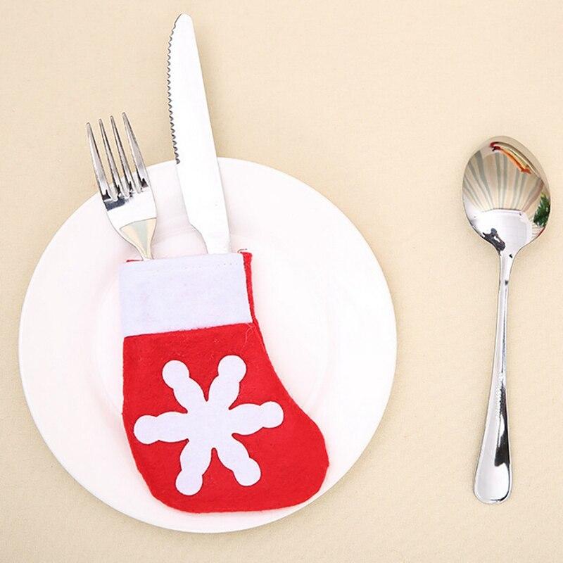 Hot Sale Christmas Tableware Sack Gift Bag Xmas Mini Sock Decorative Knife Fork Bags Storage Tool Kitchen Dining Bar Supplies