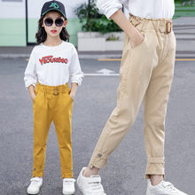 Girls Trousers Kids Spring Autumn High Waist Sashed Square Ring Cotton Pencil Pants Children Casual Straight Solid Trousers 5-13 недорого