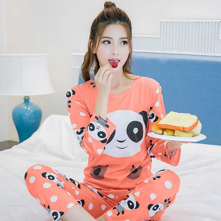 New Products Korean Style Thin Long Sleeve Pajamas Women's Spring And Autumn Cute Cartoon Bear Two-Piece Set Tracksuit-Outer Wea