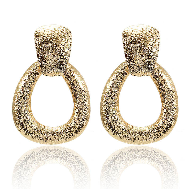 CARTER LISA New Eometric Water Droplet Creative Retro Frosted Metal For Women Gold/silver Exaggerated Drop Earring Party Jewelry