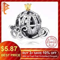 Authentische 925 Sterling Silber Europäischen Cinderella Kürbis Wagen Charme Gold Crown Perlen Fit Original Pandora Charm Armband