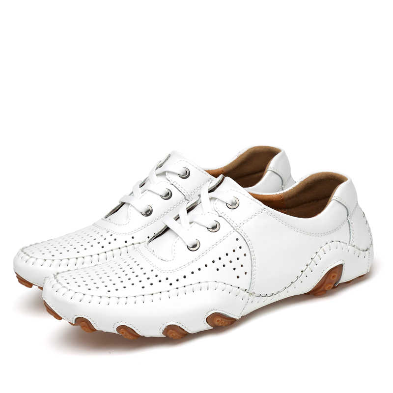 Kulit Pria Sepatu Gaya Klasik Kolam Golf Pelatihan Sneakers Plus Ukuran 38-47 Mens Golf Pelatih Sepatu Kulit hitam Putih
