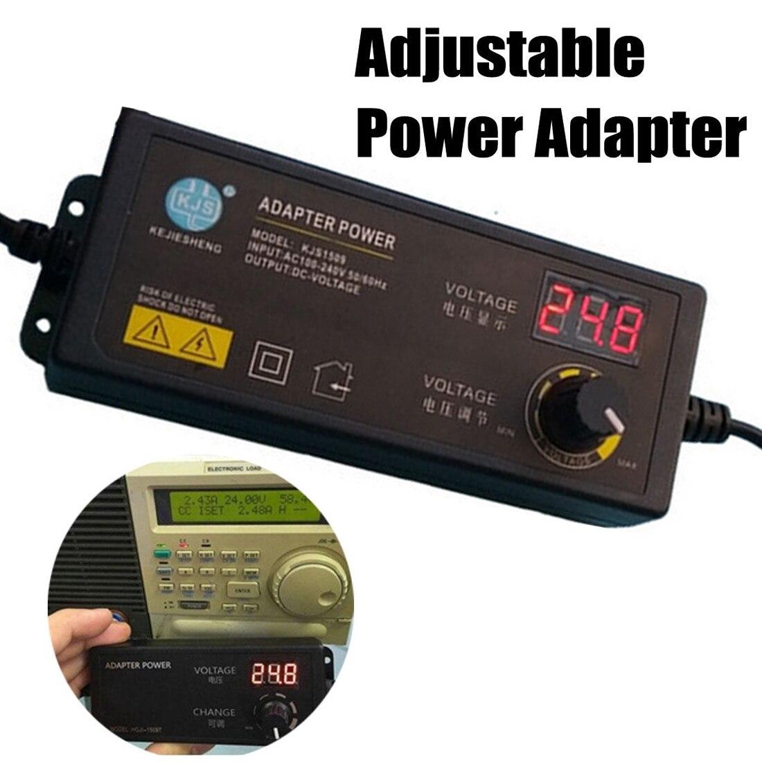 Регулируемый универсальный адаптер питания переменного тока 100-240 В в постоянный ток 3-24 В с дисплеем, Регулируемый адаптер питания, вилка ст...