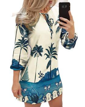 Casual V Neck Summer Print Women Dress Plus Size Fashion Casual Lantern Sleeve V-Neck Thin Mini Dress Vestidos