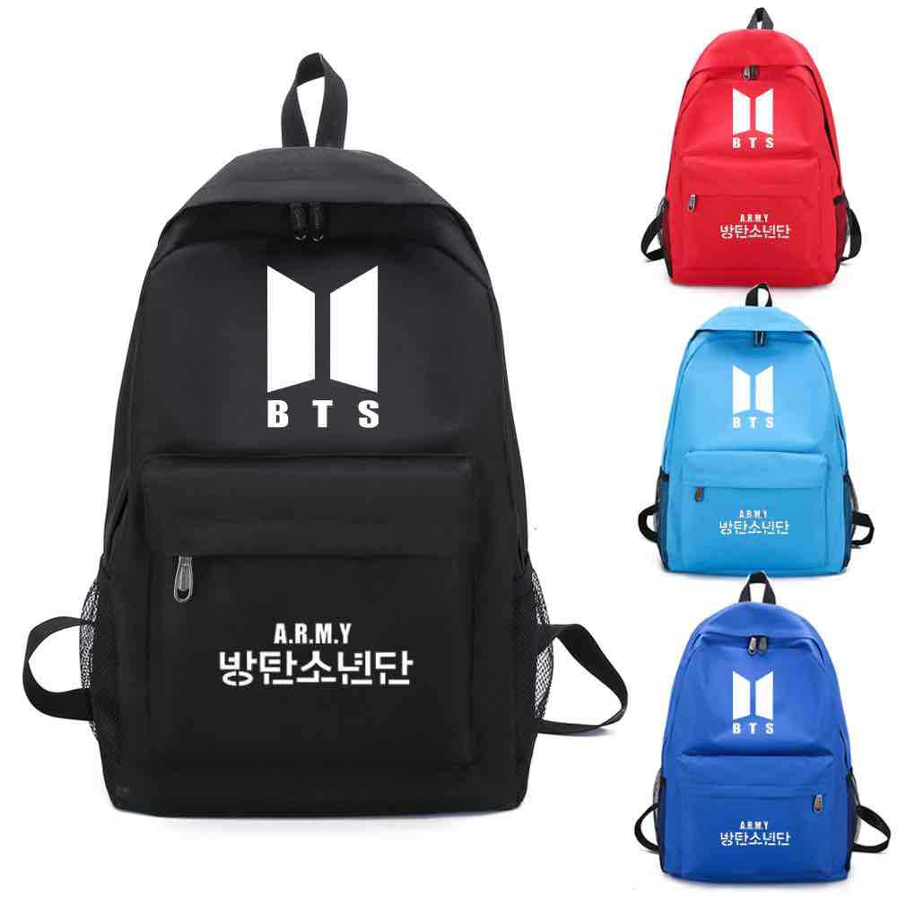 BTS Backpack Men's And Women's COUPLE'S Backpack Canvas Bag Student School Bag Casual Travel Computer Bag