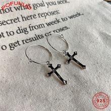 Женские серьги кольца с крестиком pofunuo элегантные винтажные