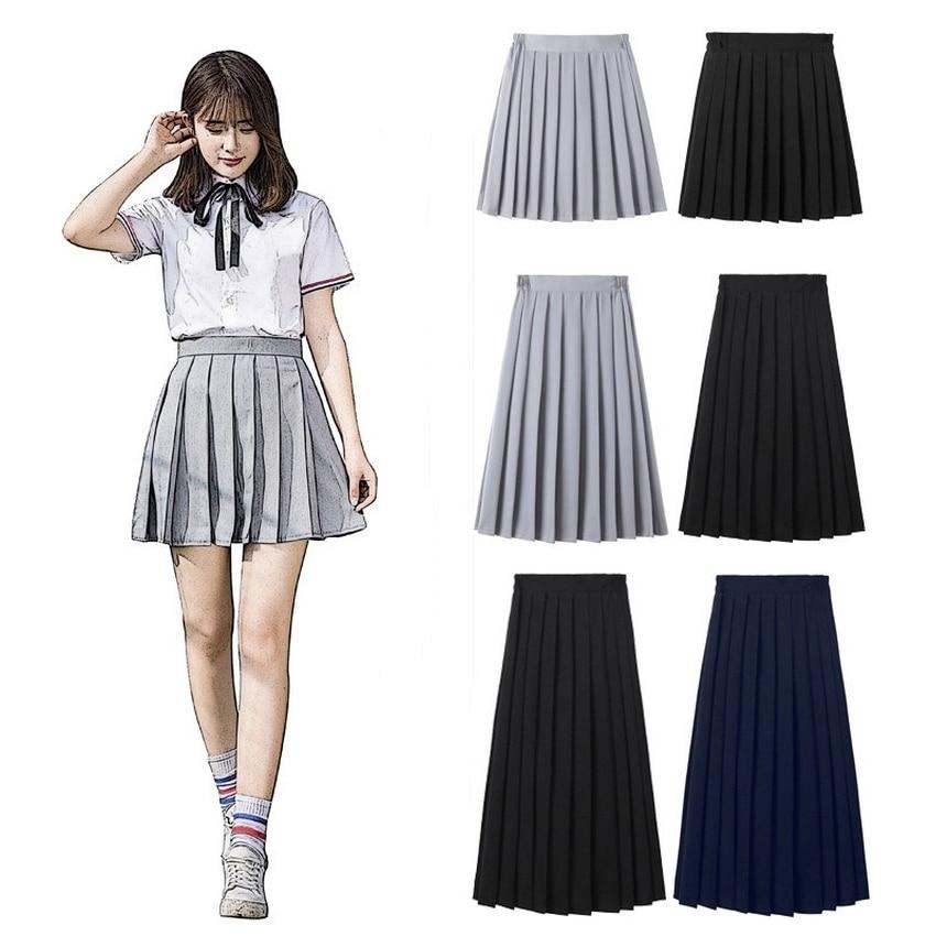 Anime Uniforms JK Japanese School for Girls Spring Solid Color Cotton Pleated Skirt Elastic Waist Cute Dresses Sailor Suits 2021