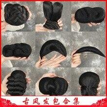 WEILAI Paquete de peluca retro antigua estilo Twist contrato trenza larga pieza recta cuerno Flying moño Headwear