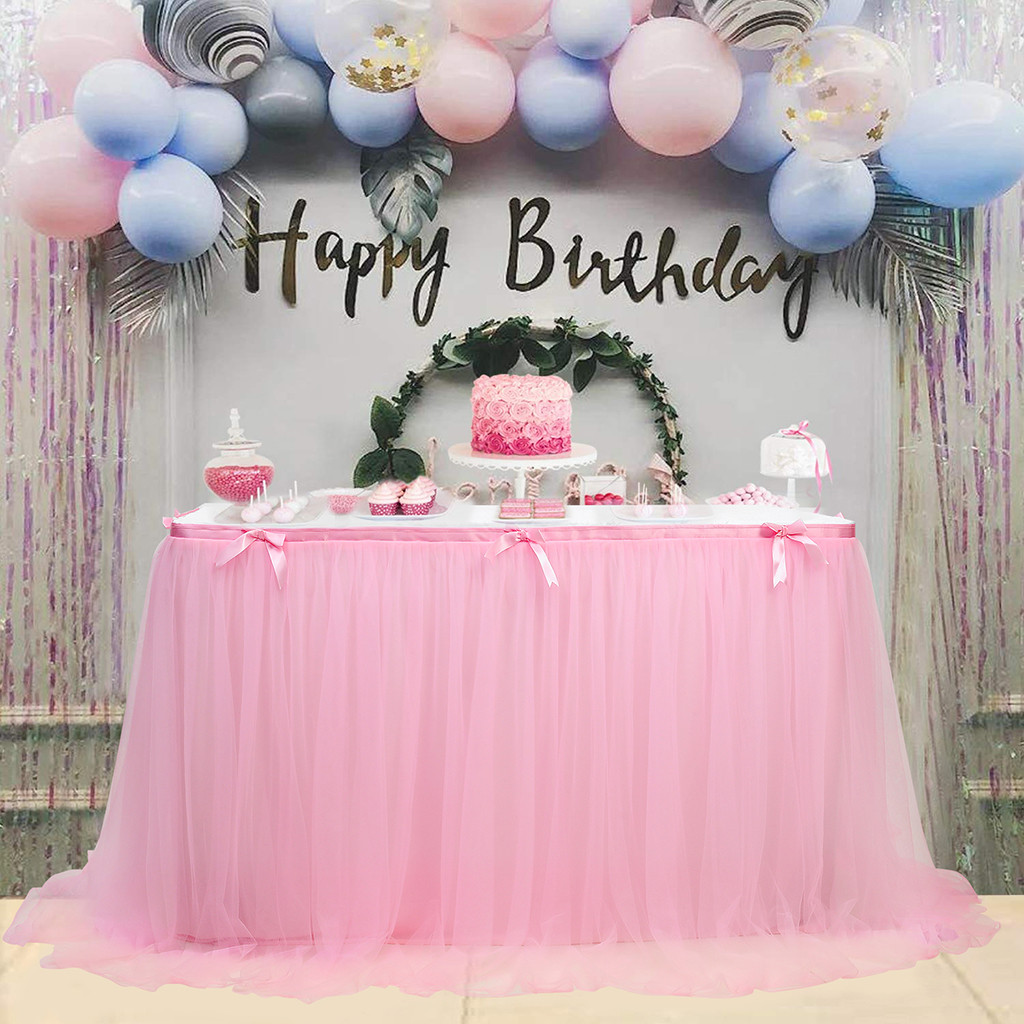 OUNEED 280x76cm Wedding Party Tutu Tulle Table Skirt Tableware Cloth Baby Shower Party Home Decor Table Skirting Birthday Party