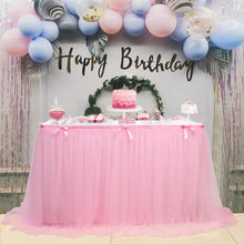 OUNEED 280x76cm Wedding Party Tutu Tulle Table Skirt Tableware Cloth Baby Shower Party Home Decor Table Skirting Birthday Party(China)