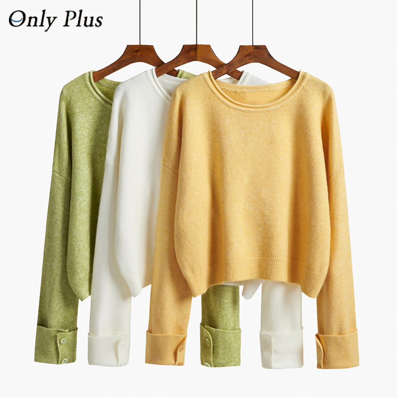 Only Plus Winter Solid Pull Femme Mohair Soft Warm Sweaters And Jumpers Yellow Chic Ladies Elegant Knited Sweater Warm 2019