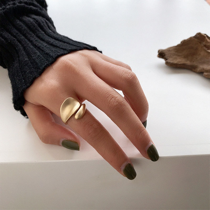 SRCOI Gold Sliver Color Matte Metal Geometric Open Rings Fashion Simple Trendy Minimalist Solid Circle Adjustable Ring For Women