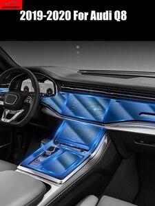 Наклейка для салона автомобиля Audi Q8 2019 2020, прозрачная защитная пленка, аксессуары для автомобиля, защитная пленка с дисплеем Центрального у...